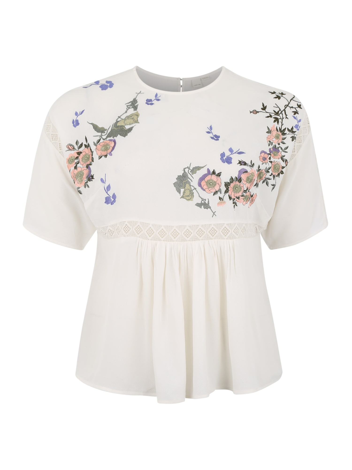 Halenka SMOCK TOP WITH BLOSSOM EMBROIDERY krémová bílá Lost Ink Plus