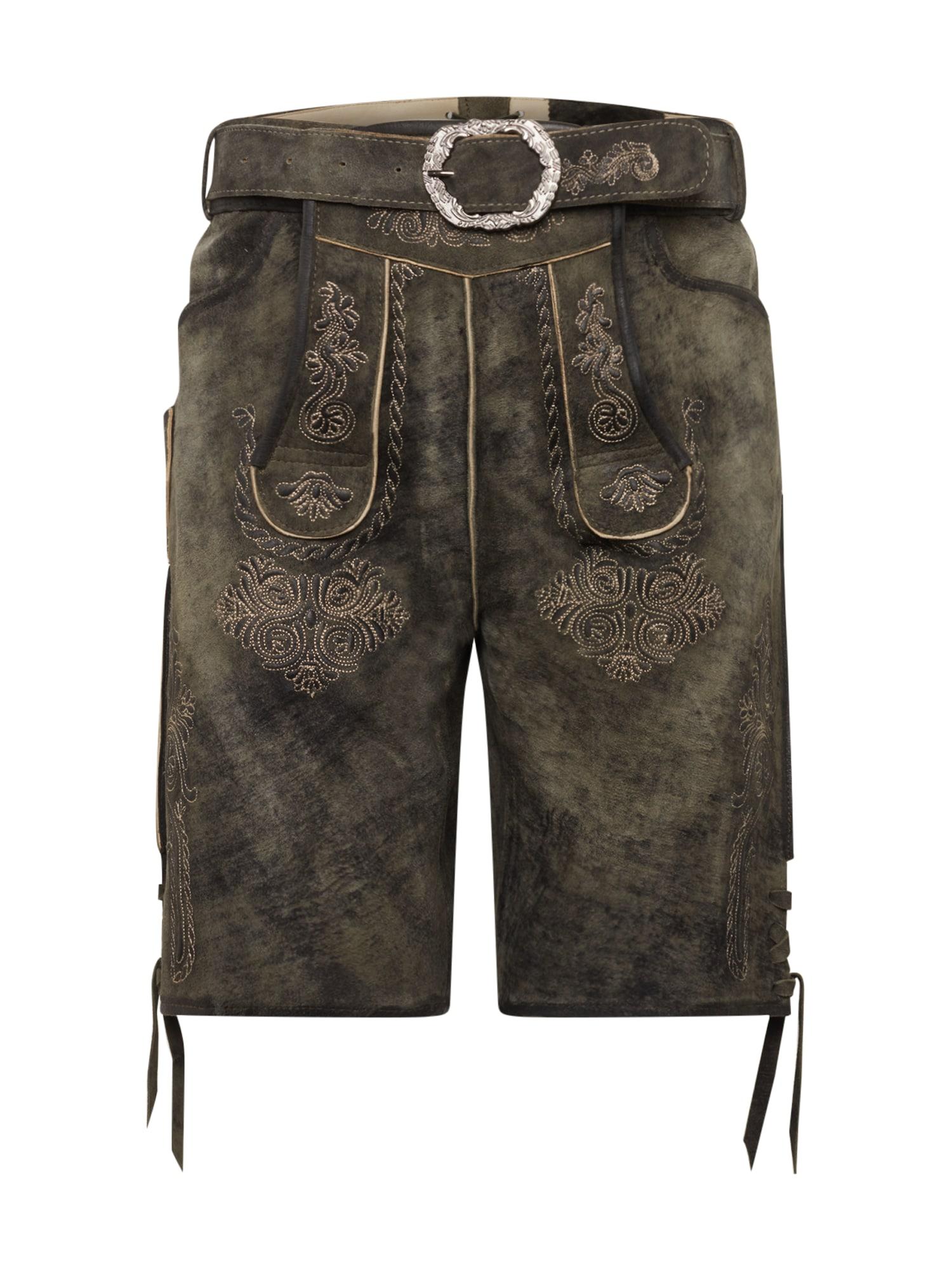 MARJO Kelnės su tradiciniais raštais '017 Tyson inkl. Gürtel' tamsiai žalia