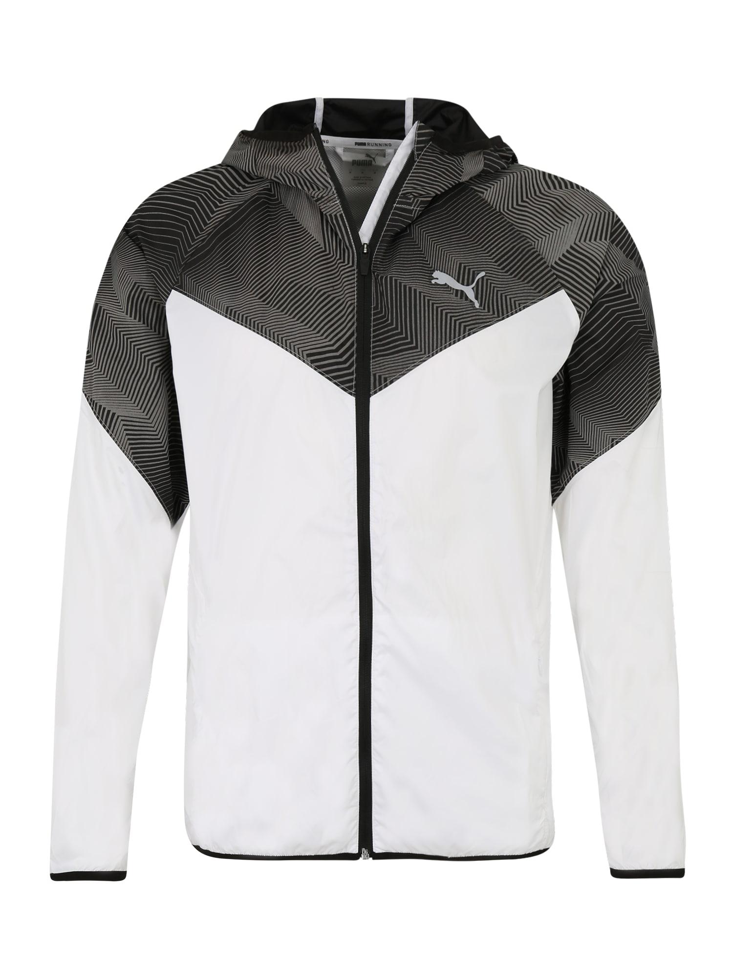 PUMA Športová bunda  čierna / biela