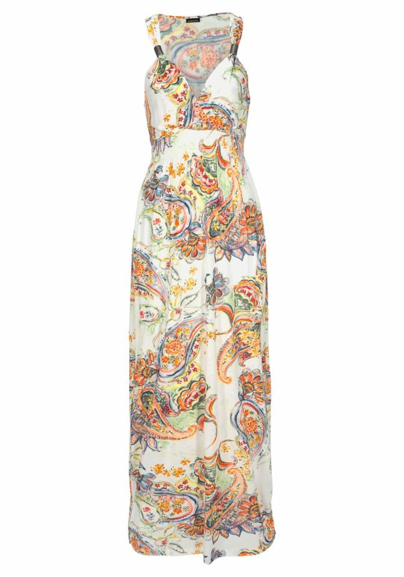 LASCANA Plážové šaty  svetlooranžové / biela