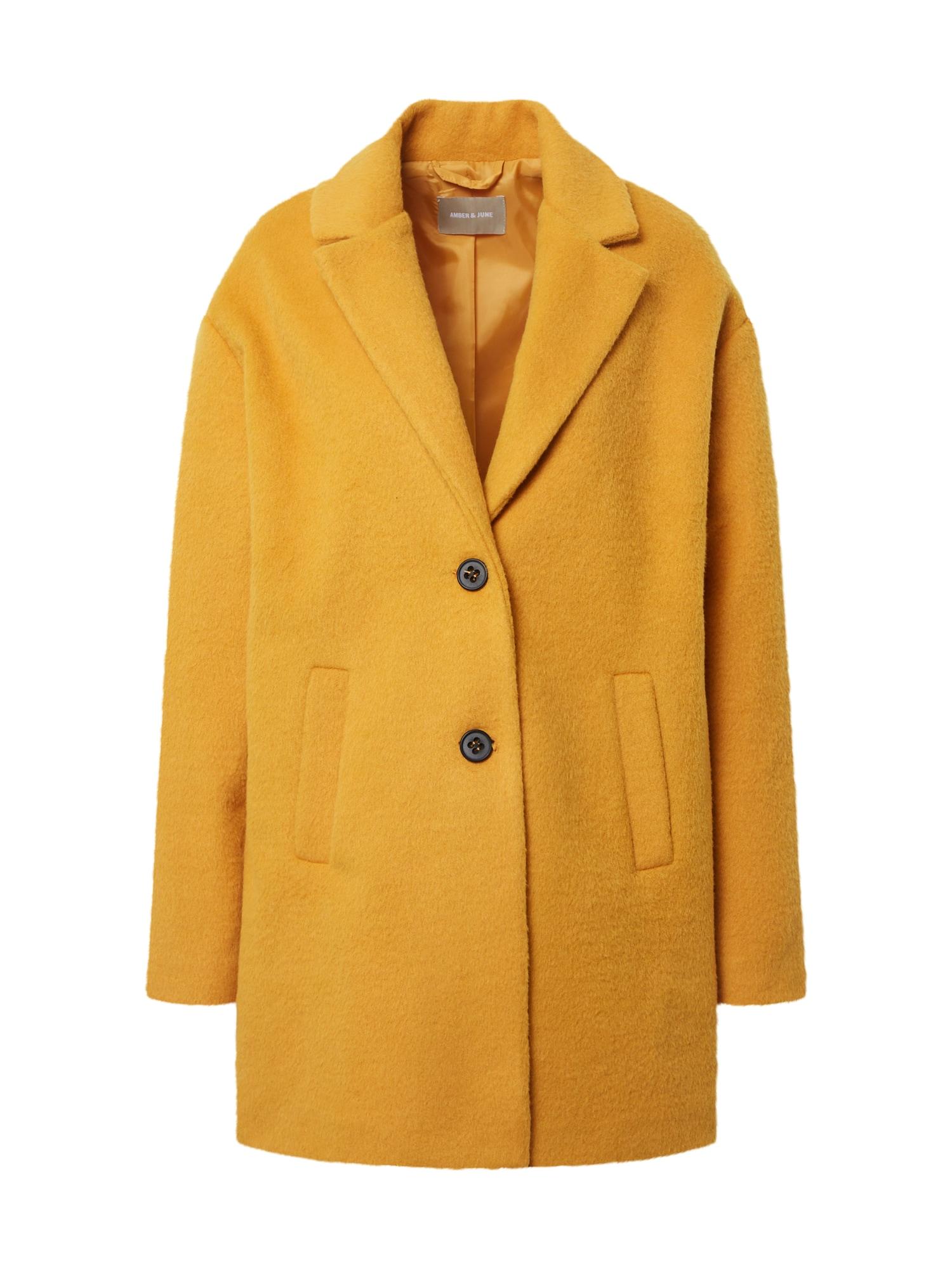 Amber & June Demisezoninis paltas geltona
