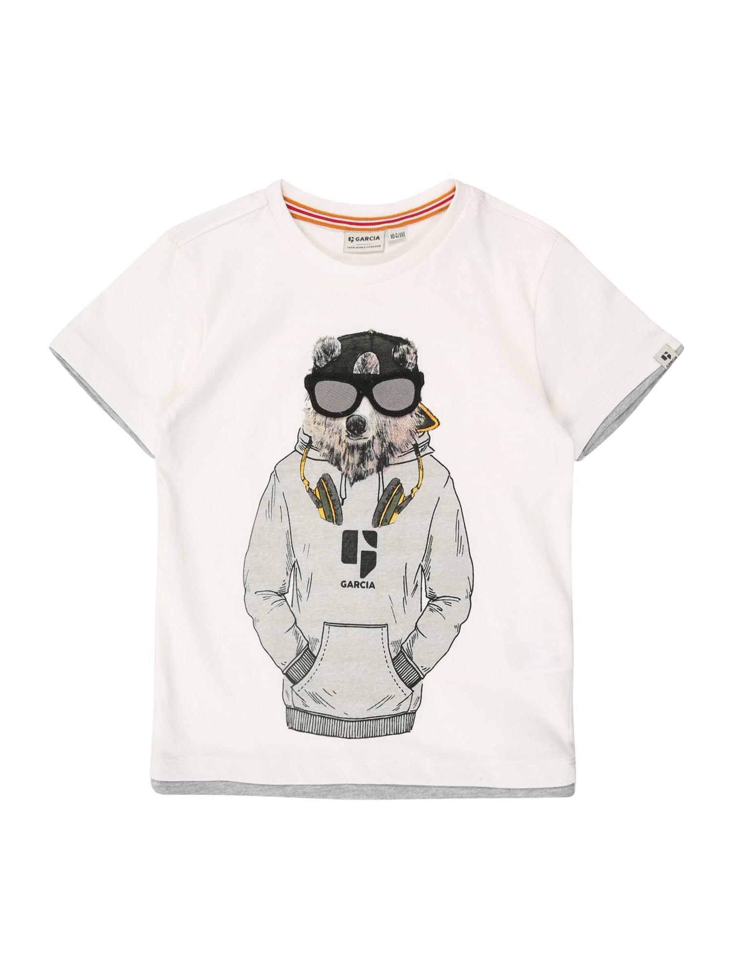 GARCIA Tričko  biela / sivá / grafitová
