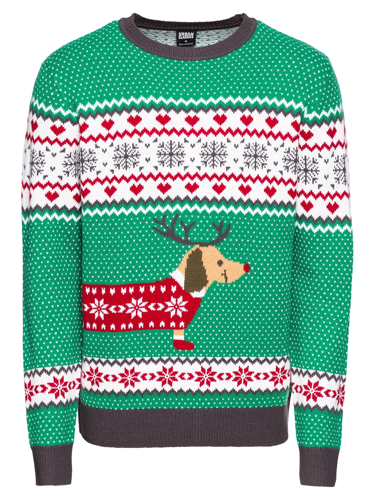 Svetr Sausage Dog Christmas zelená mix barev Urban Classics