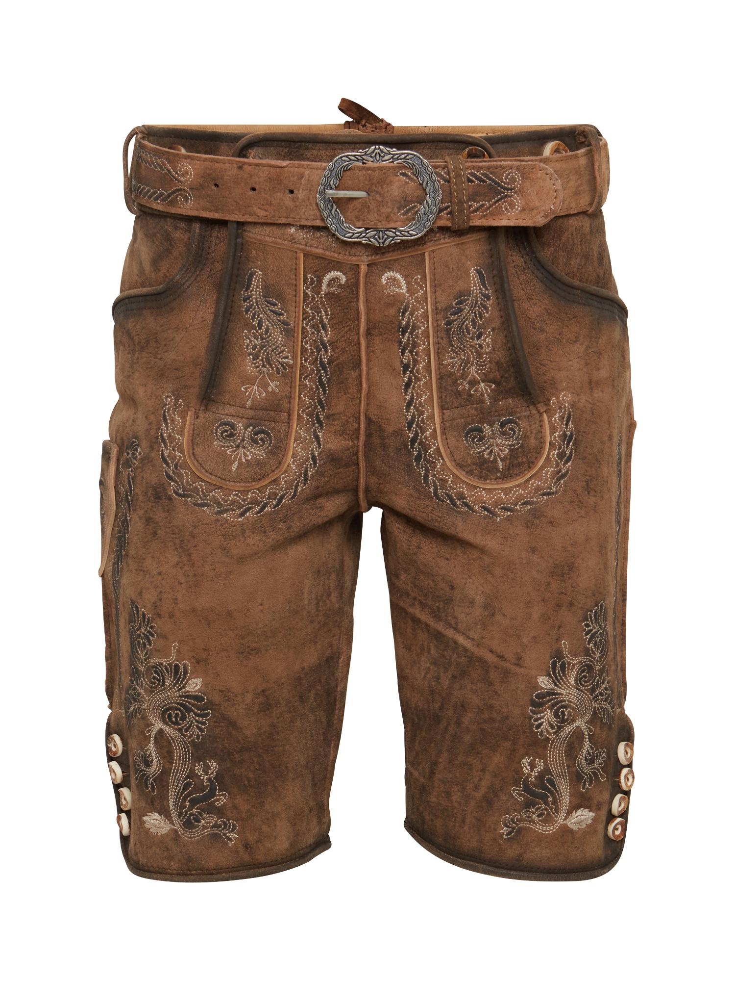 MARJO Kelnės su tradiciniais raštais 'Samuel' ruda