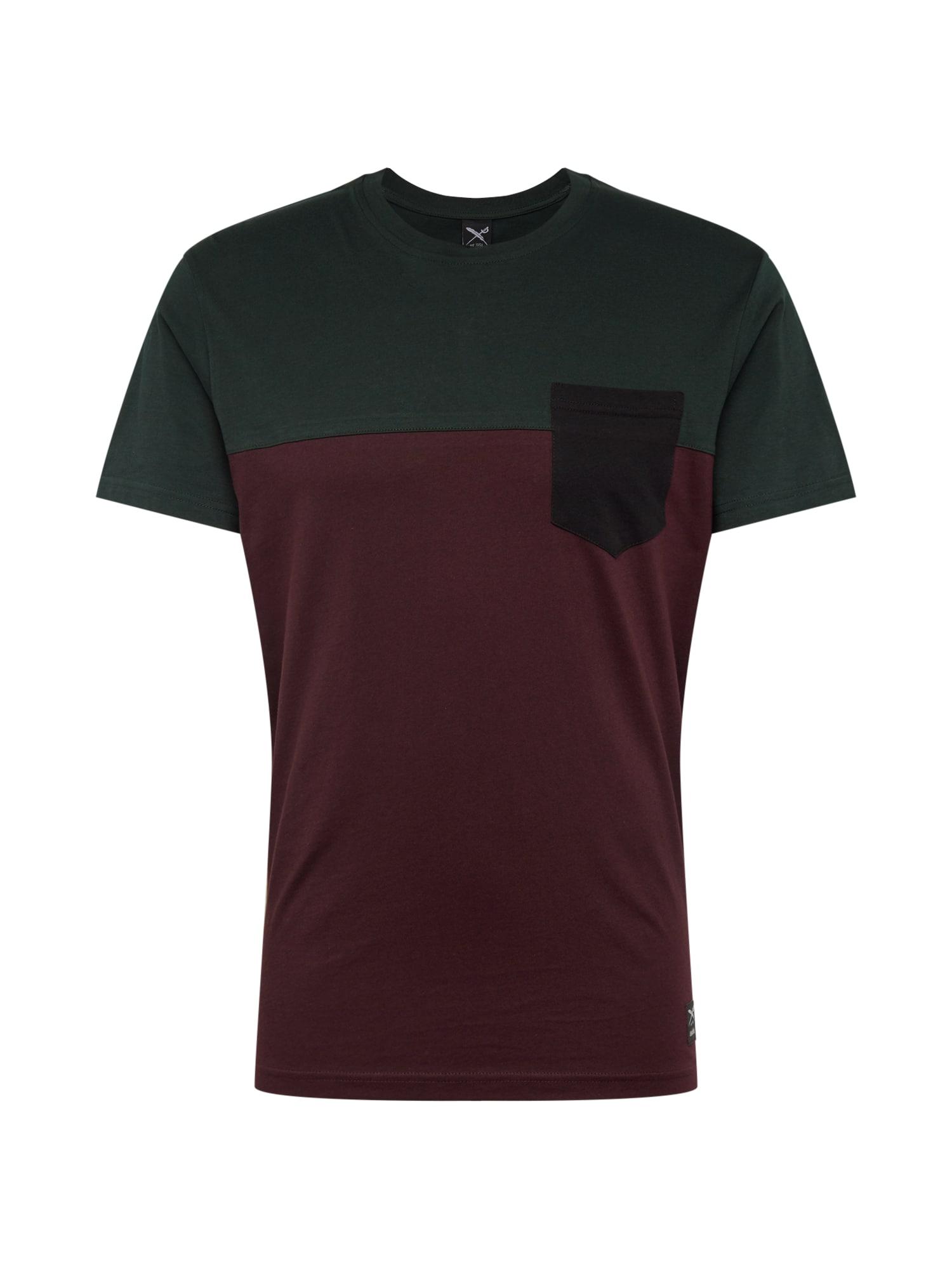 Iriedaily Marškinėliai baklažano spalva / žalia / tamsiai raudona