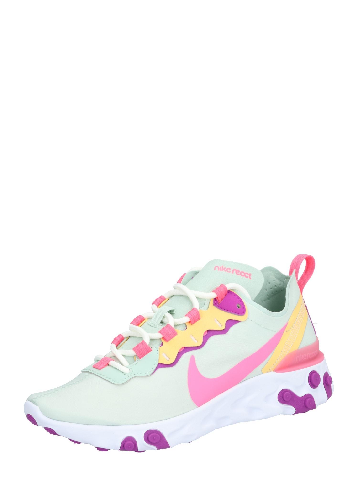 Nike Sportswear Bežecká obuv 'React Element 55'  ružová / biela / mätová / svetlooranžové