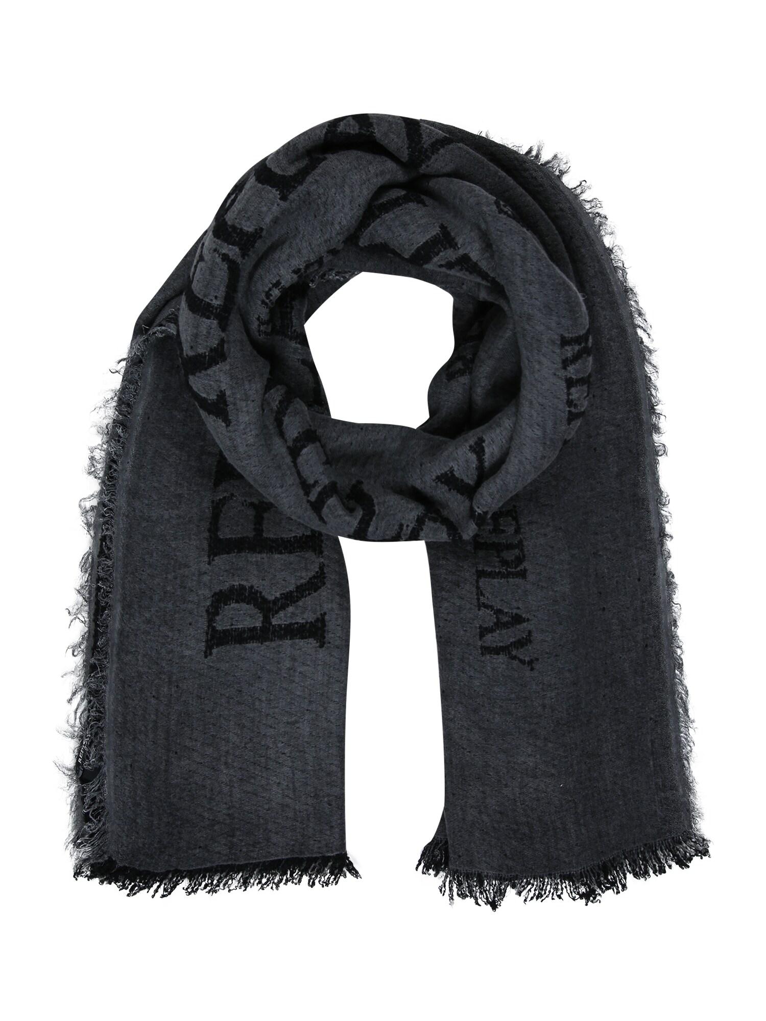 REPLAY Fular  gri metalic / negru