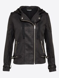 Damen Übergangsjacke LEATHER EFFECT WITH VLVET&RIB schwarz | 03662820754548