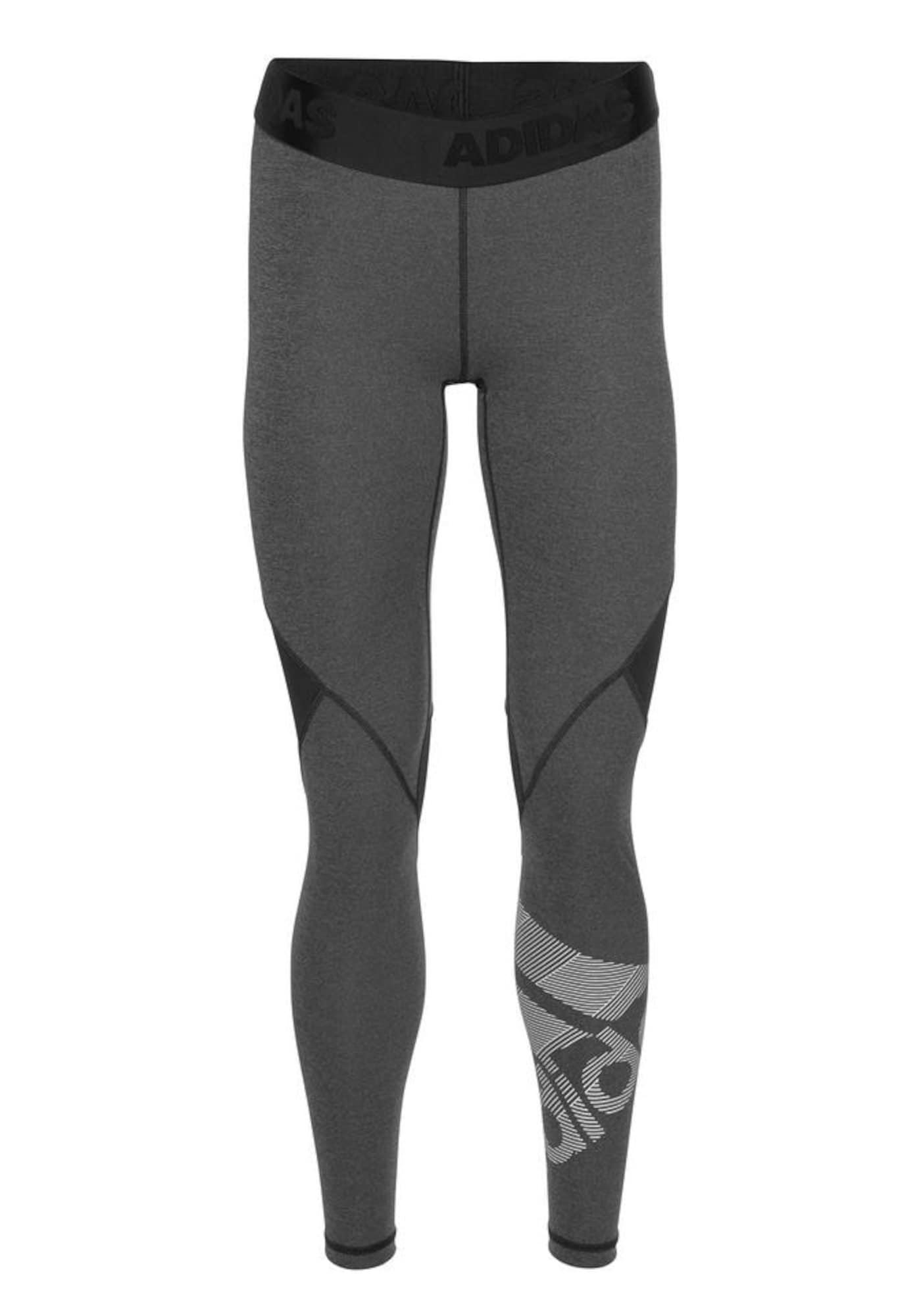 Sportovní kalhoty Alphaskin Badge of Sport šedý melír černý melír bílá ADIDAS PERFORMANCE