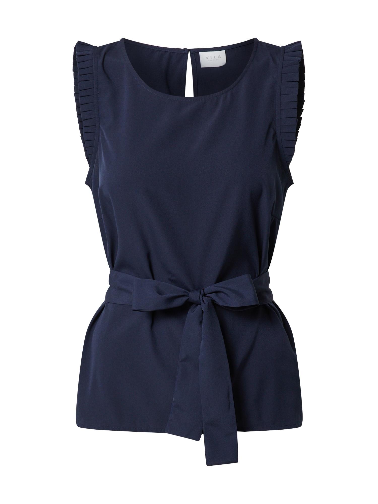 VILA Marškinėliai 'VIALINNIA' tamsiai mėlyna