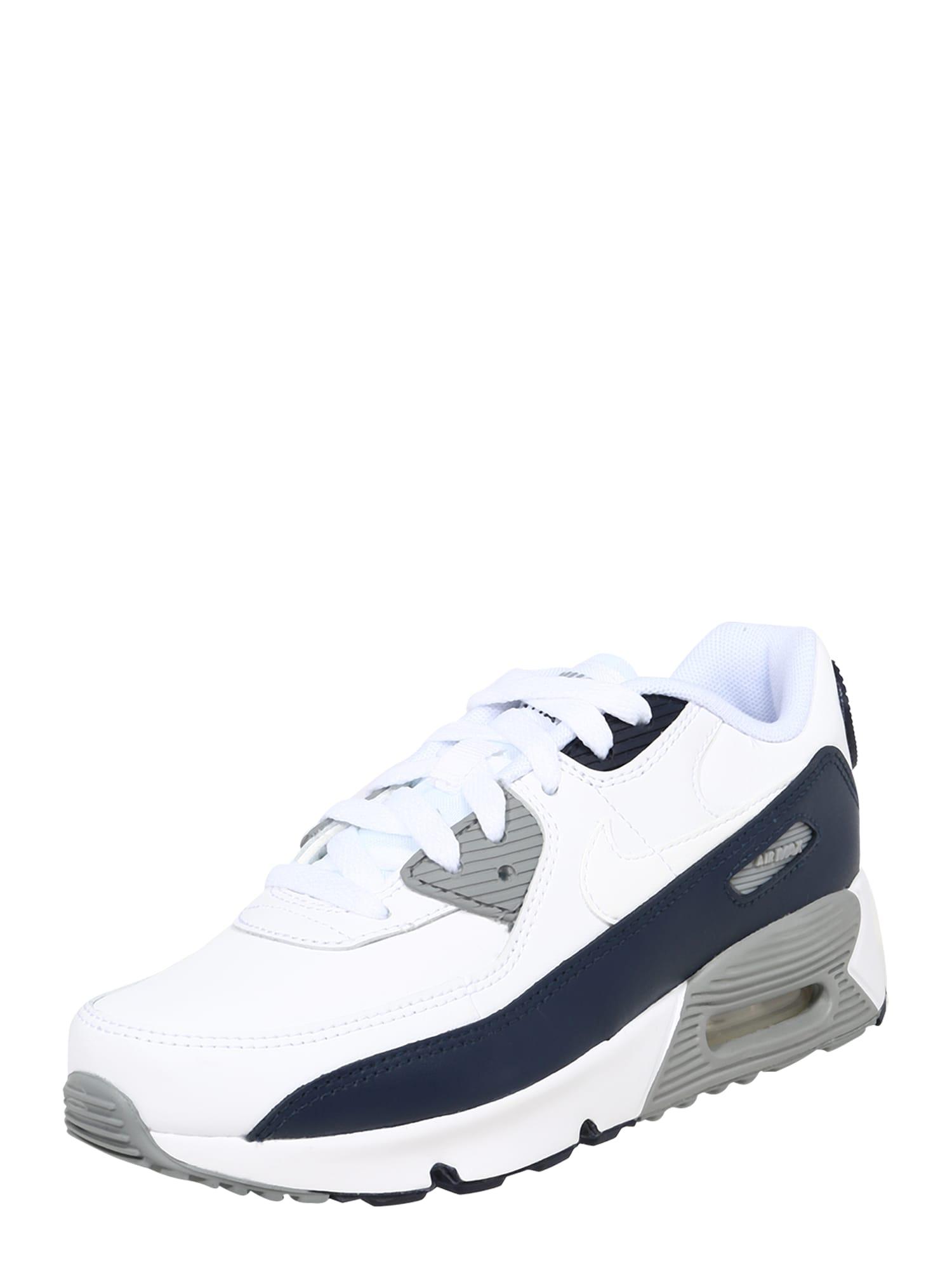 Nike Sportswear Tenisky 'AIR MAX 90 LTR (PS)'  bílá / tmavě modrá