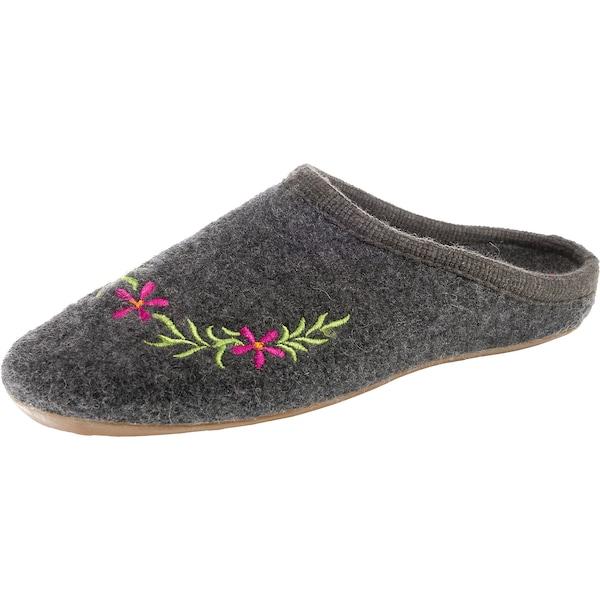 Hausschuhe für Frauen - HAFLINGER Pantoffeln 'Dakota Flower' dunkelgrau  - Onlineshop ABOUT YOU