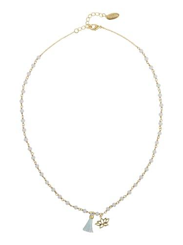 Ketten für Frauen - Orelia Kette 'Beaded Lotus Tassel' hellblau gold  - Onlineshop ABOUT YOU