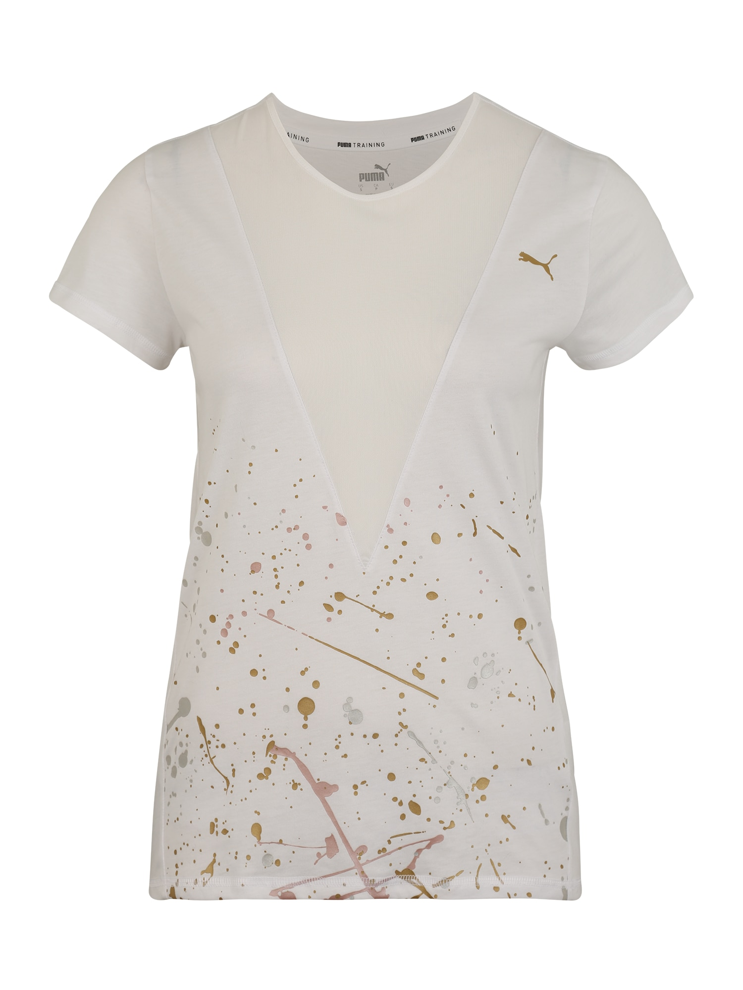 PUMA Funkčné tričko 'Metal Splash'  zlatá / biela