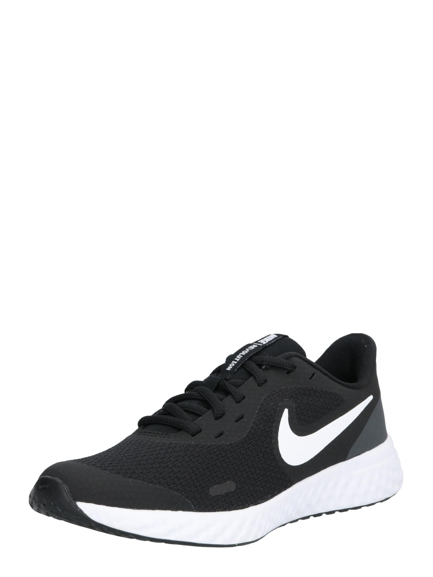 NIKE Sportiniai batai 'Revolution 5' balta / juoda