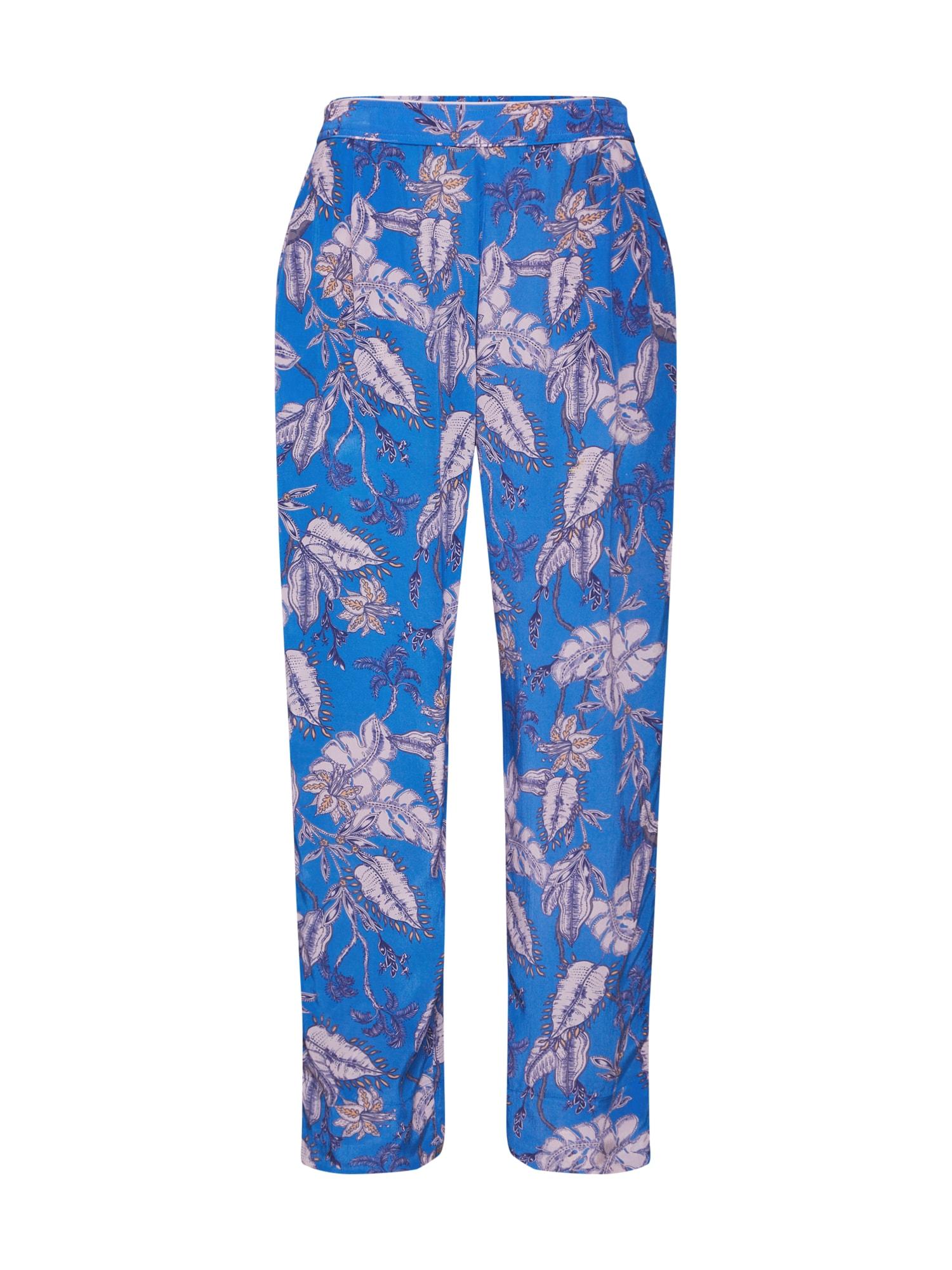 MOS MOSH Klostuotos kelnės 'Elke Vita Pant' šviesiai mėlyna / rožinė
