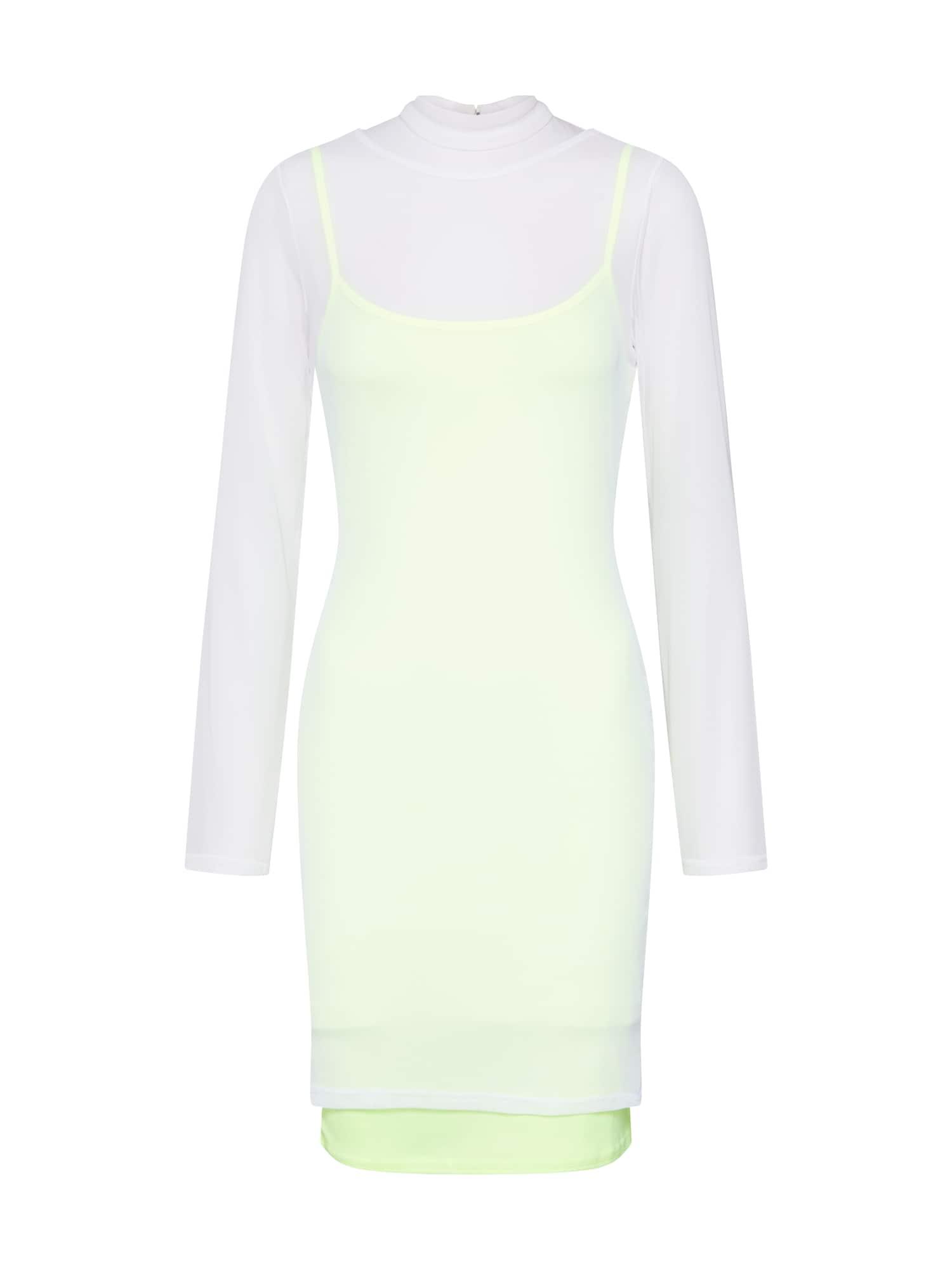 Missguided Šaty  svítivě žlutá / bílá