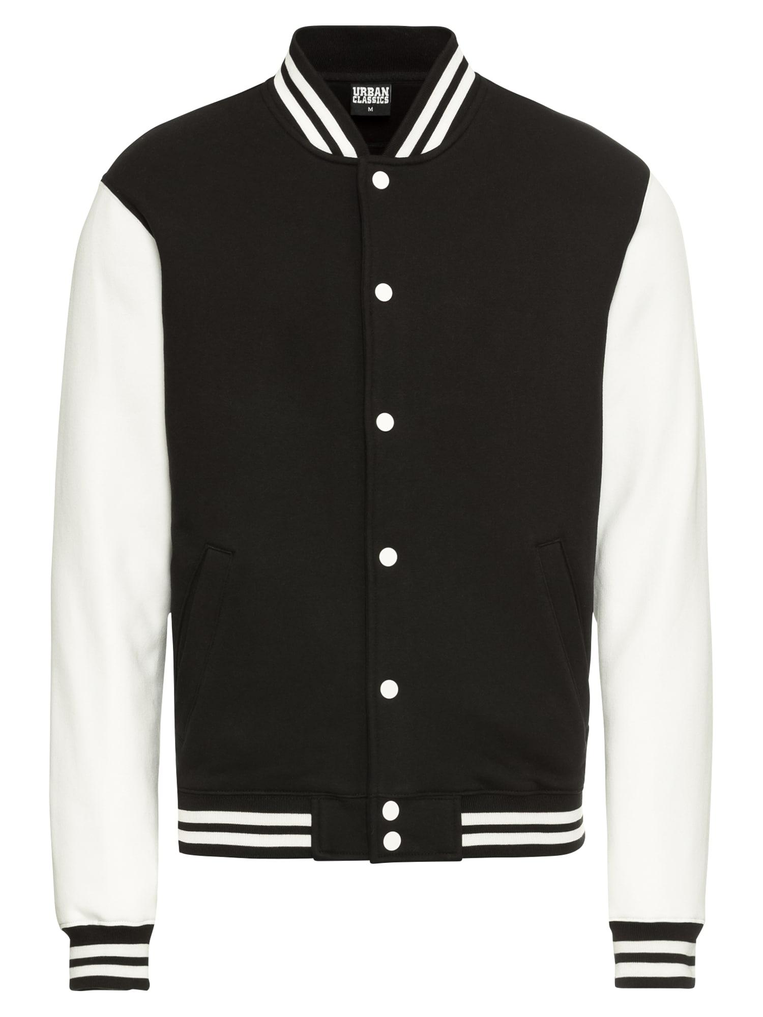 Urban Classics Tepláková bunda  biela / čierna