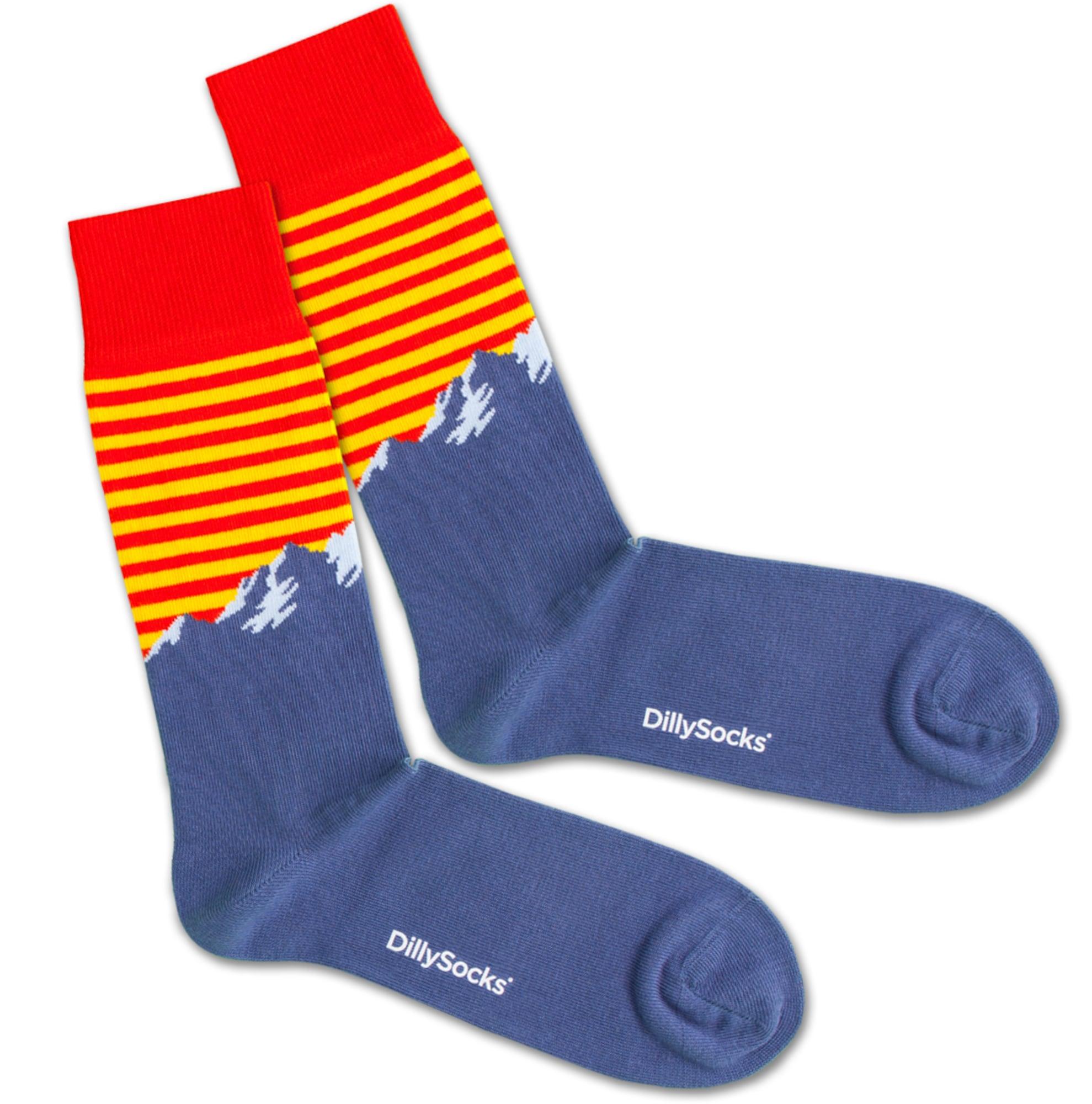 Ponožky Alpine Sunset modrá žlutá červená bílá DillySocks