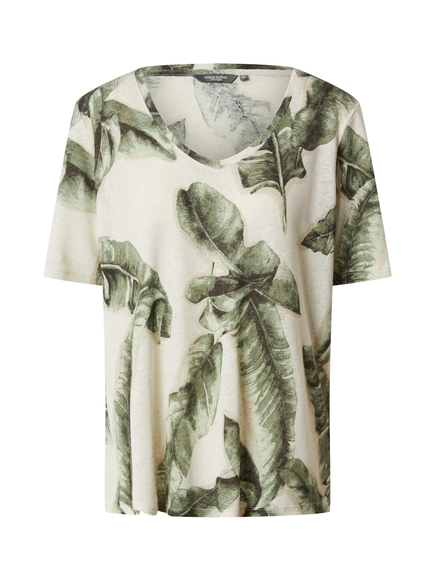 MINE TO FIVE Marškinėliai pastelinė žalia / įdegio spalva