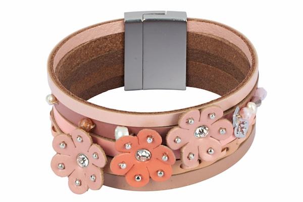 Armbaender für Frauen - Heine Armband mit Blütenapplikation beige koralle rosa rosé puder  - Onlineshop ABOUT YOU