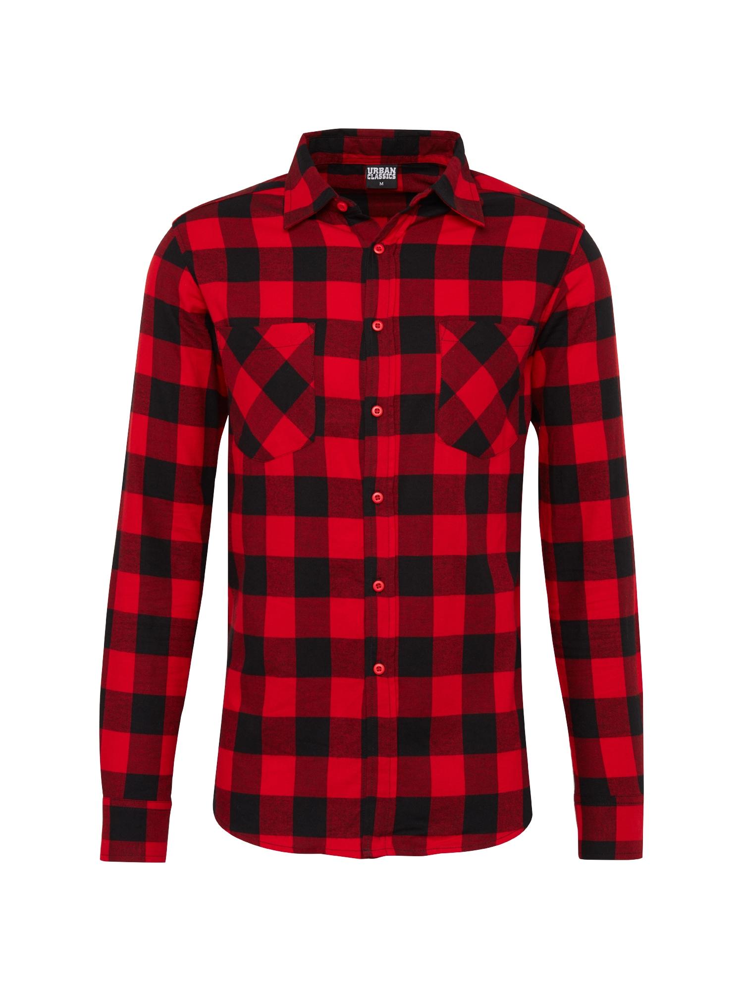Urban Classics Dalykiniai marškiniai 'Checked Flanell' raudona / juoda