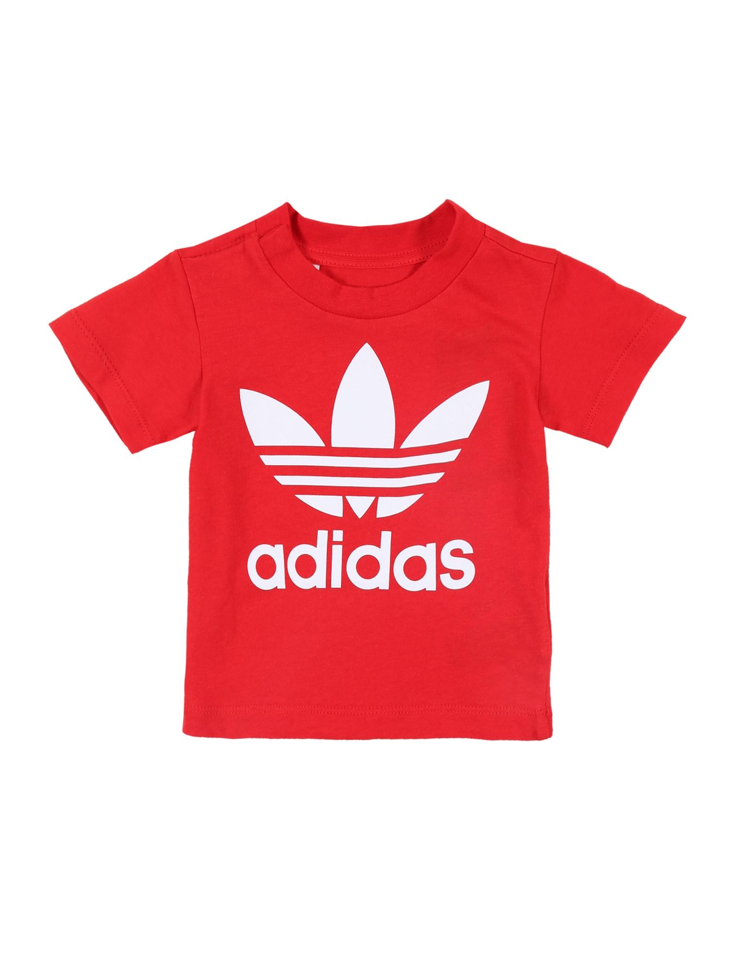 ADIDAS ORIGINALS Marškinėliai 'TREFOIL' raudona / balta