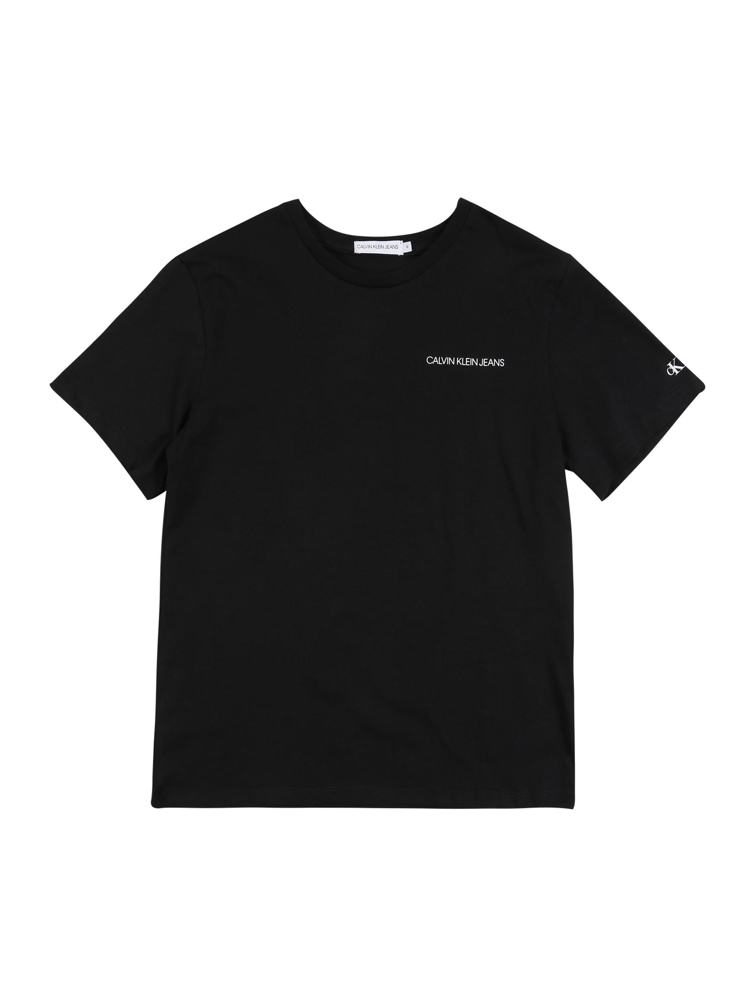 Calvin Klein Jeans Marškinėliai 'CHEST LOGO REGULAR SS TOP' juoda