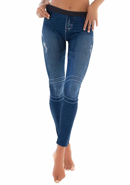 Hosen für Frauen - Leggings mit aufgedruckter Jeansoptik › Buffalo › blau  - Onlineshop ABOUT YOU