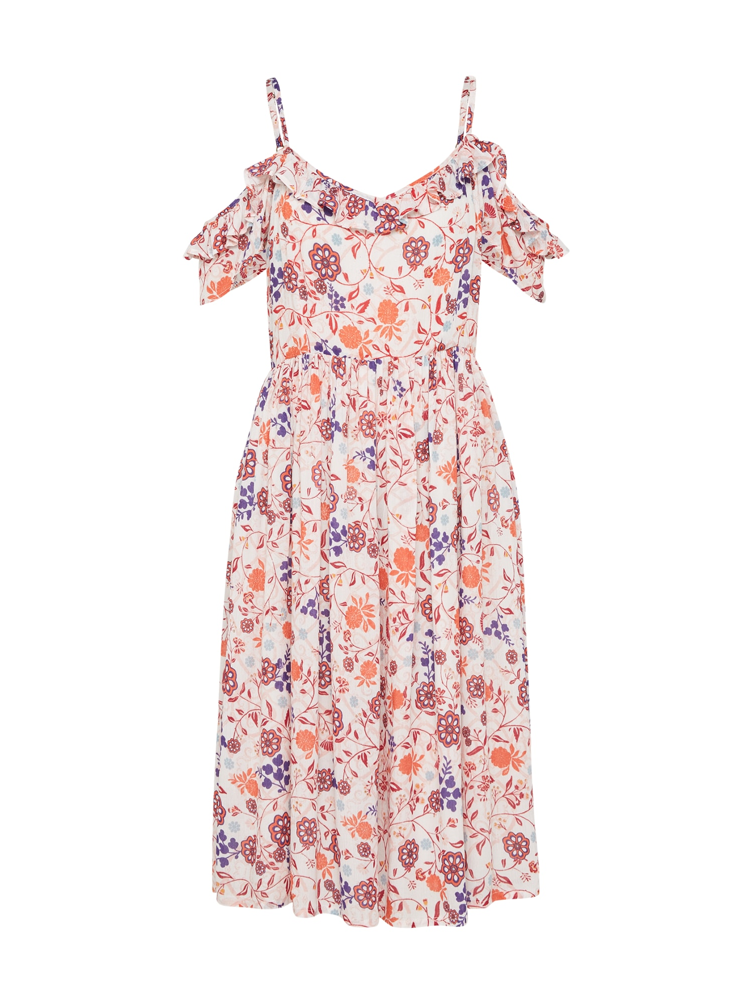 Letní šaty SWIRL LACE COLD SHOULDER krémová oranžová vínově červená Yumi
