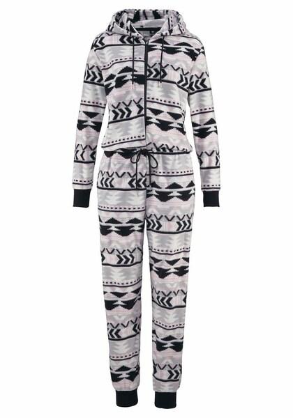 Hosen - Jumpsuit aus kuscheligem Fleece › Bench › hellgrau rosa schwarz  - Onlineshop ABOUT YOU