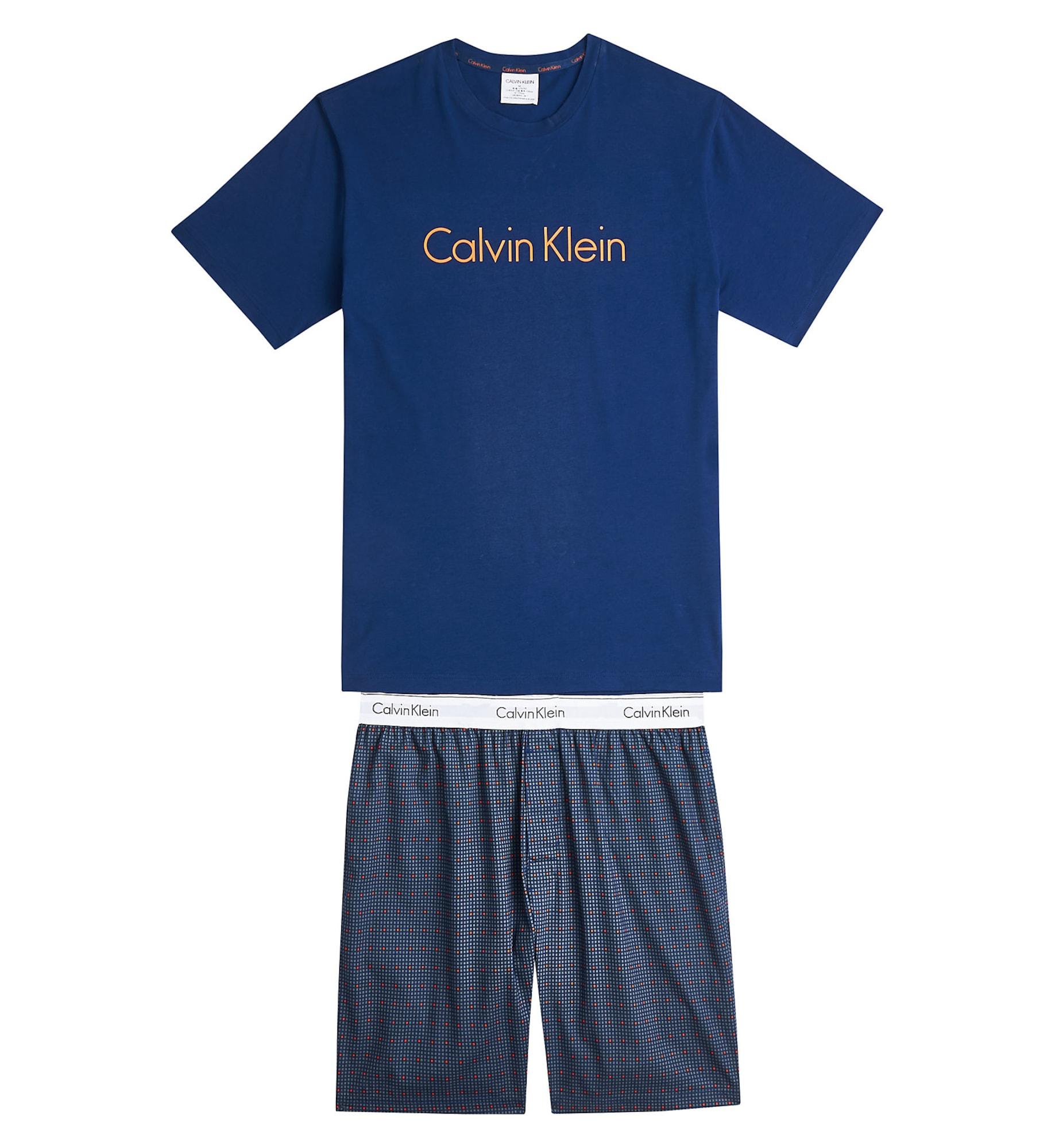 Calvin Klein Underwear Trumpa pižama balta / tamsiai mėlyna / geltona