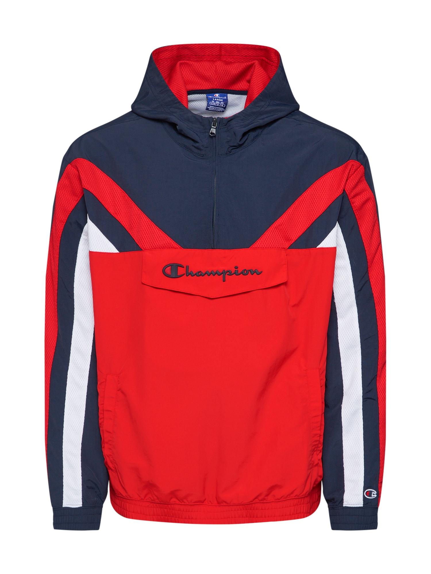 Champion Authentic Athletic Apparel Demisezoninė striukė balta / raudona / tamsiai mėlyna