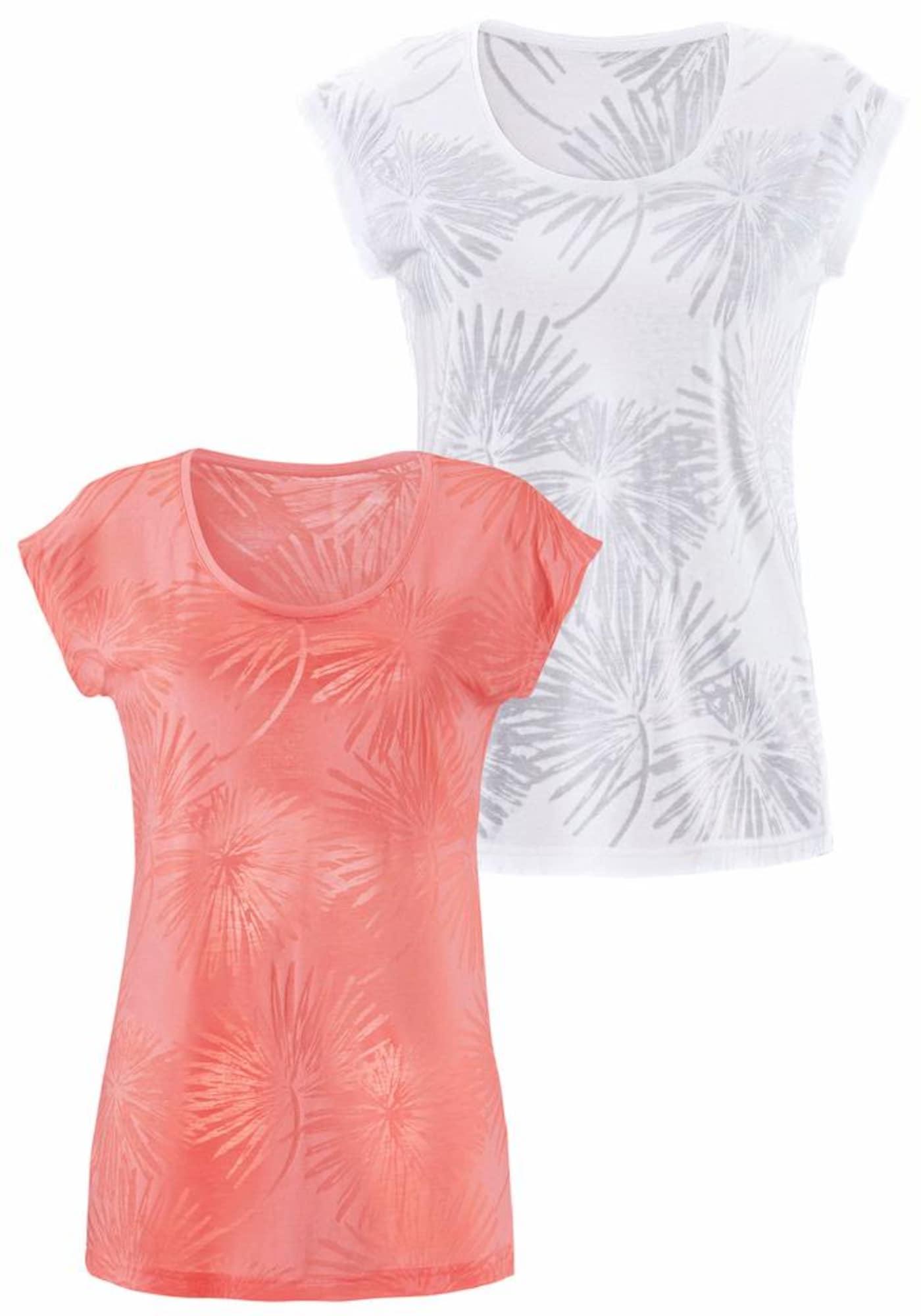 BEACH TIME Marškinėliai lašišų spalva / natūrali balta