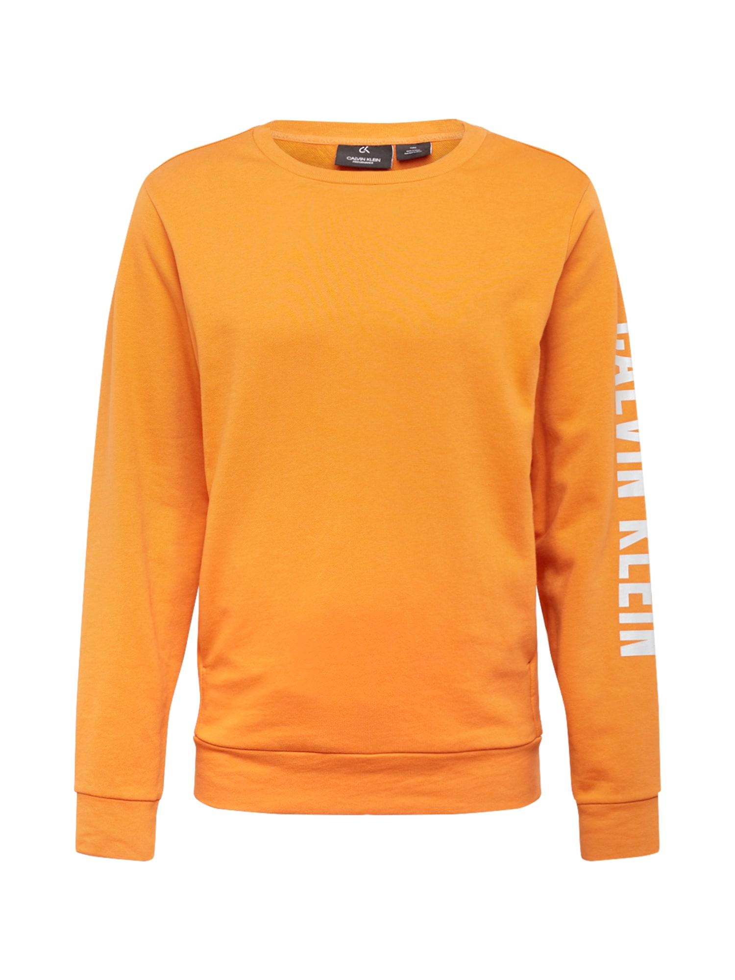 Calvin Klein Performance Športová mikina  oranžová / biela
