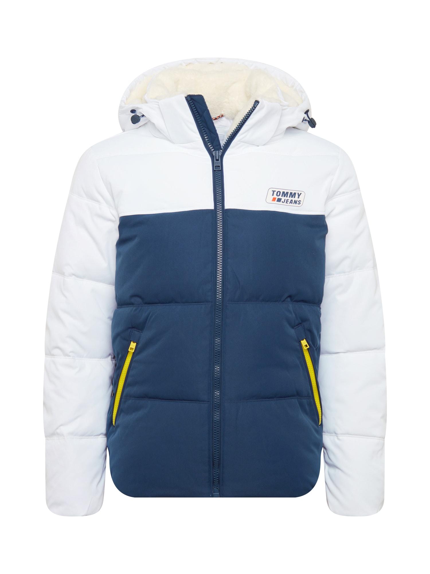 Tommy Jeans Demisezoninė striukė balta / tamsiai mėlyna / neoninė geltona
