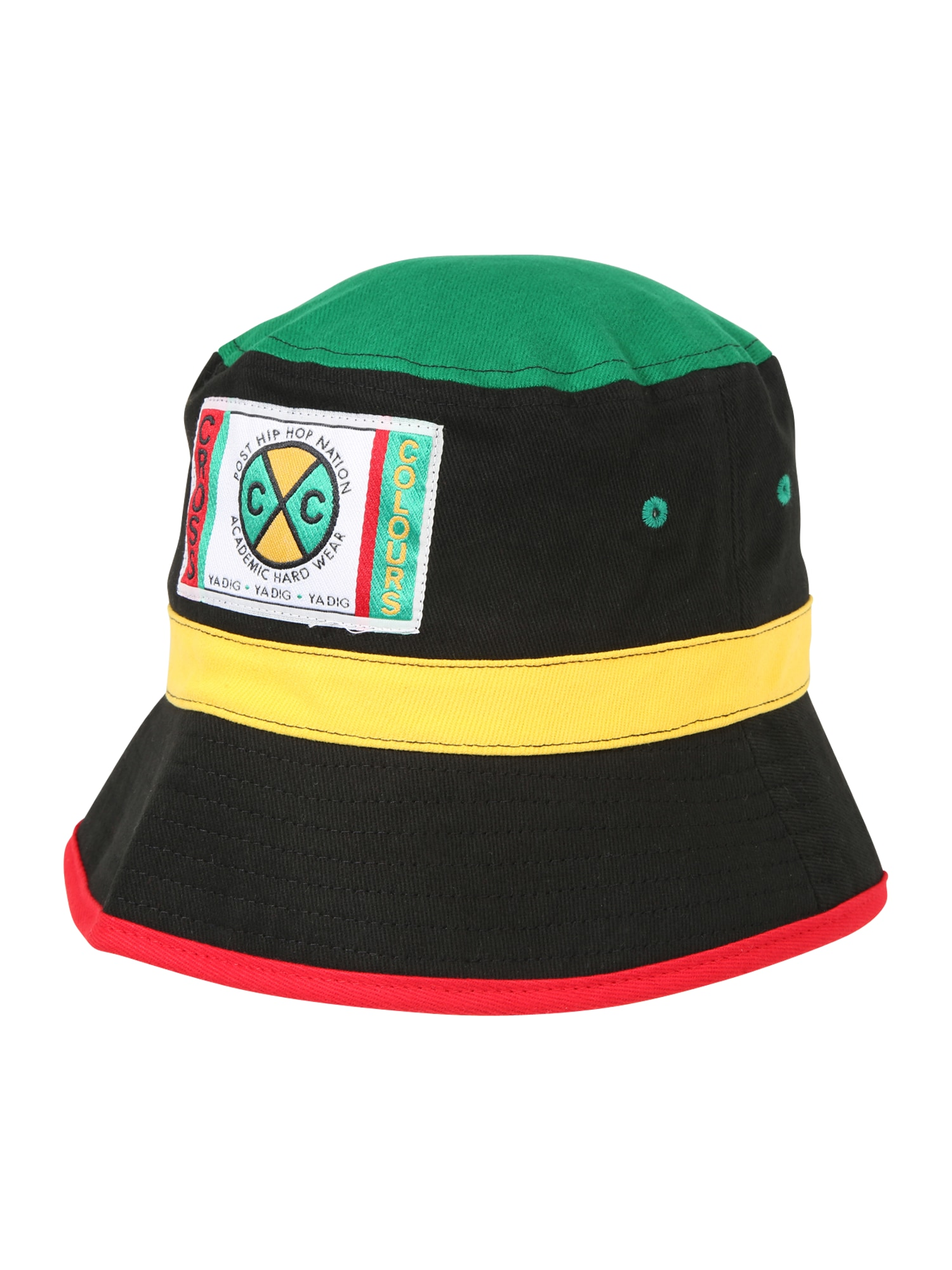 CROSS COLOURS Megzta kepurė 'Block Bucket' juoda / žalia / geltona / raudona