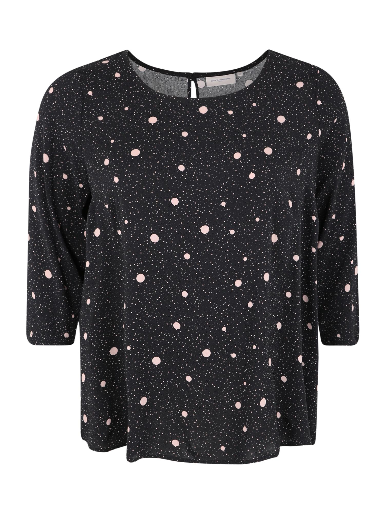 ONLY Carmakoma Marškinėliai 'CARDOT' juoda / balta
