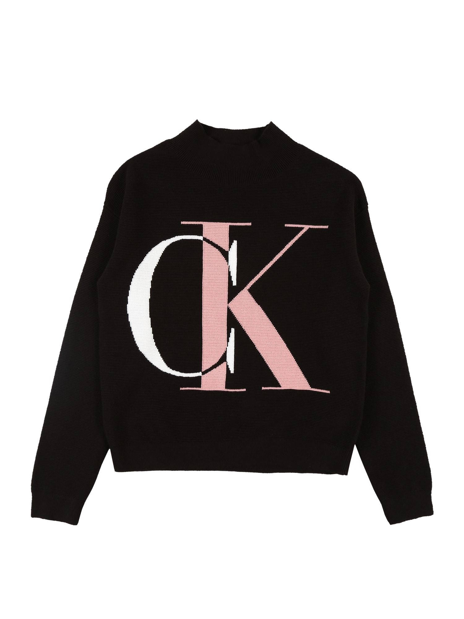 Calvin Klein Jeans Megztinis juoda / rožių spalva / balta