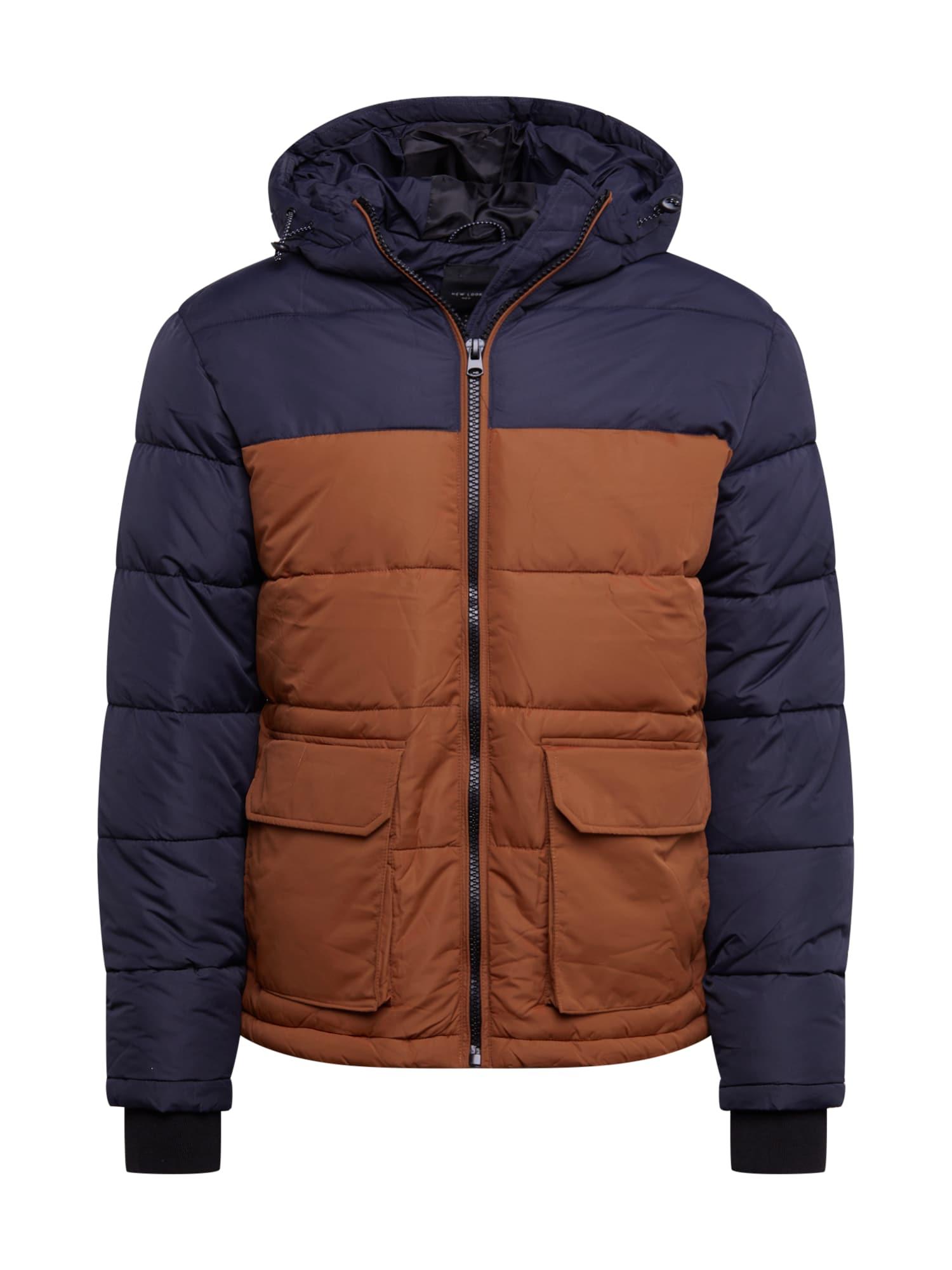 NEW LOOK Zimná bunda  námornícka modrá / hnedé
