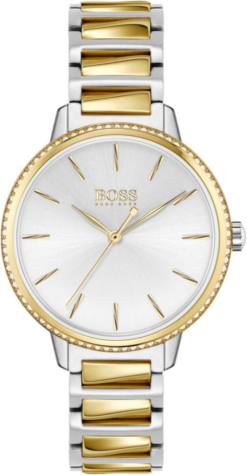 BOSS Analoginis (įprasto dizaino) laikrodis 'SIGNATURE' sidabrinė / auksas / balta