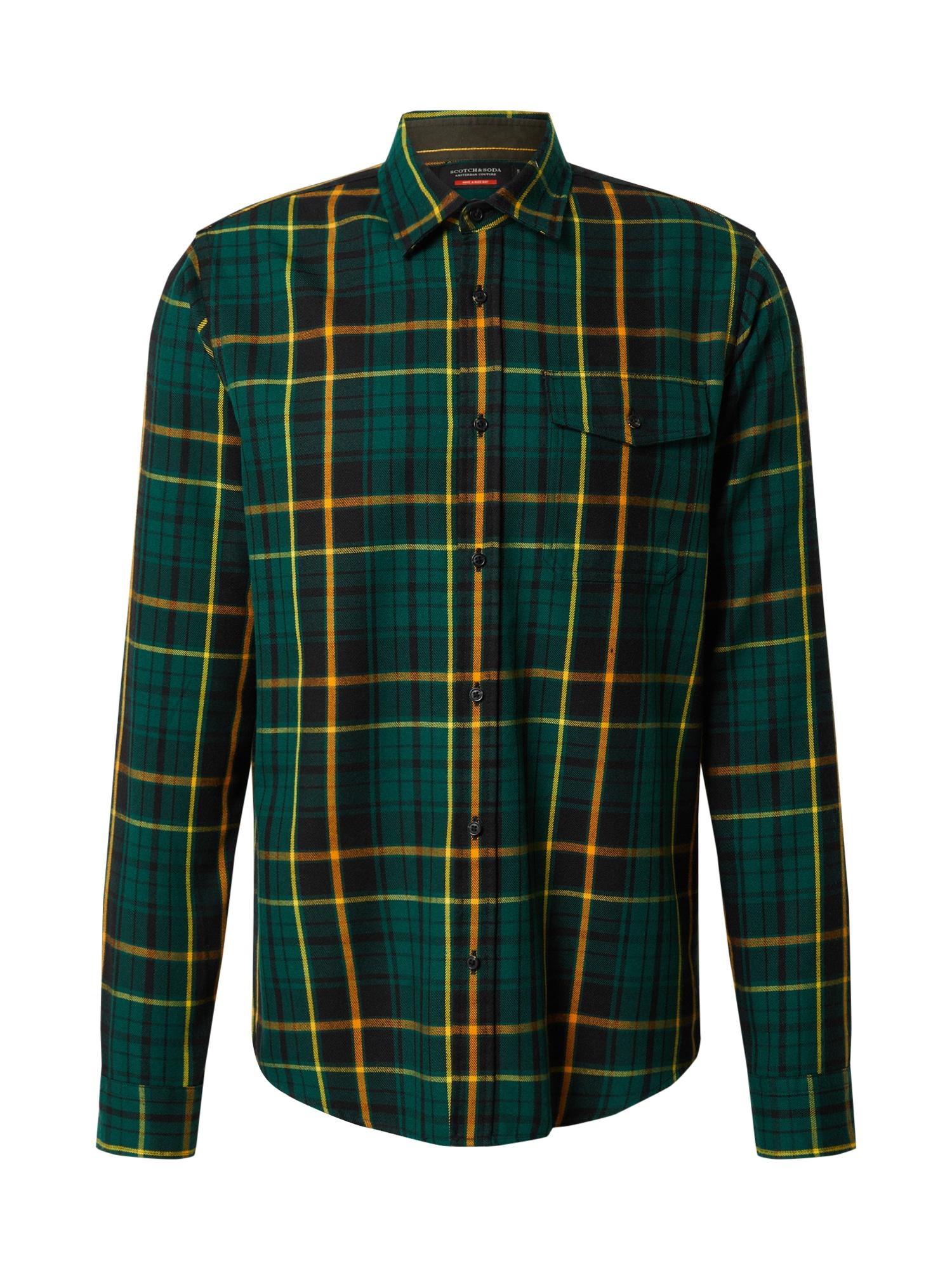 SCOTCH & SODA Košile  černá / smaragdová / žlutá