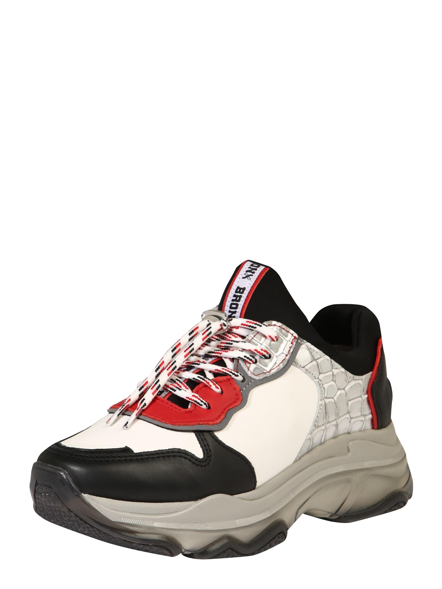 BRONX Nízke tenisky 'Baisley'  strieborná / čierna / biela