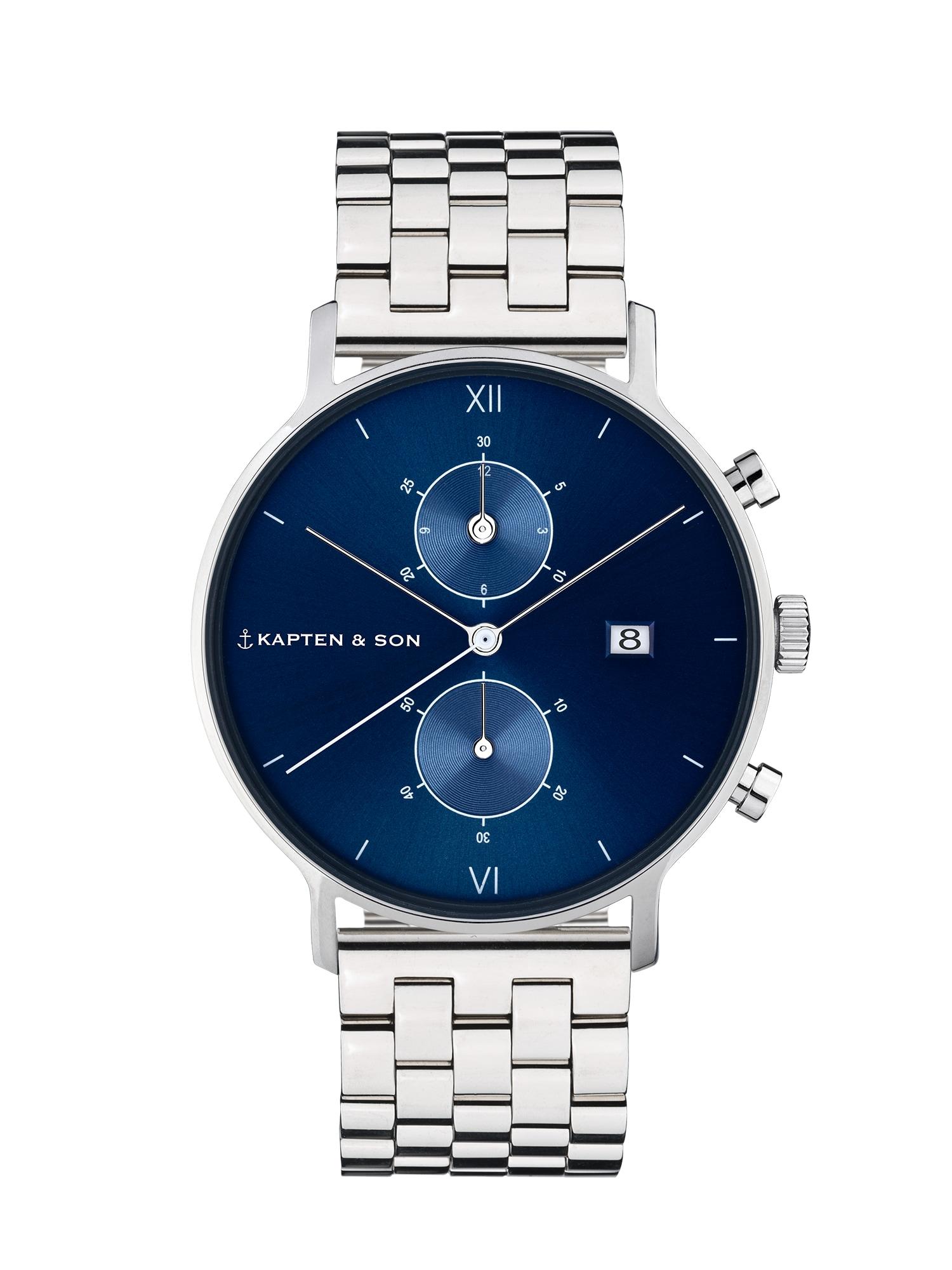Kapten & Son Analógové hodinky 'Chrono Silver Steel'  strieborná / modrá