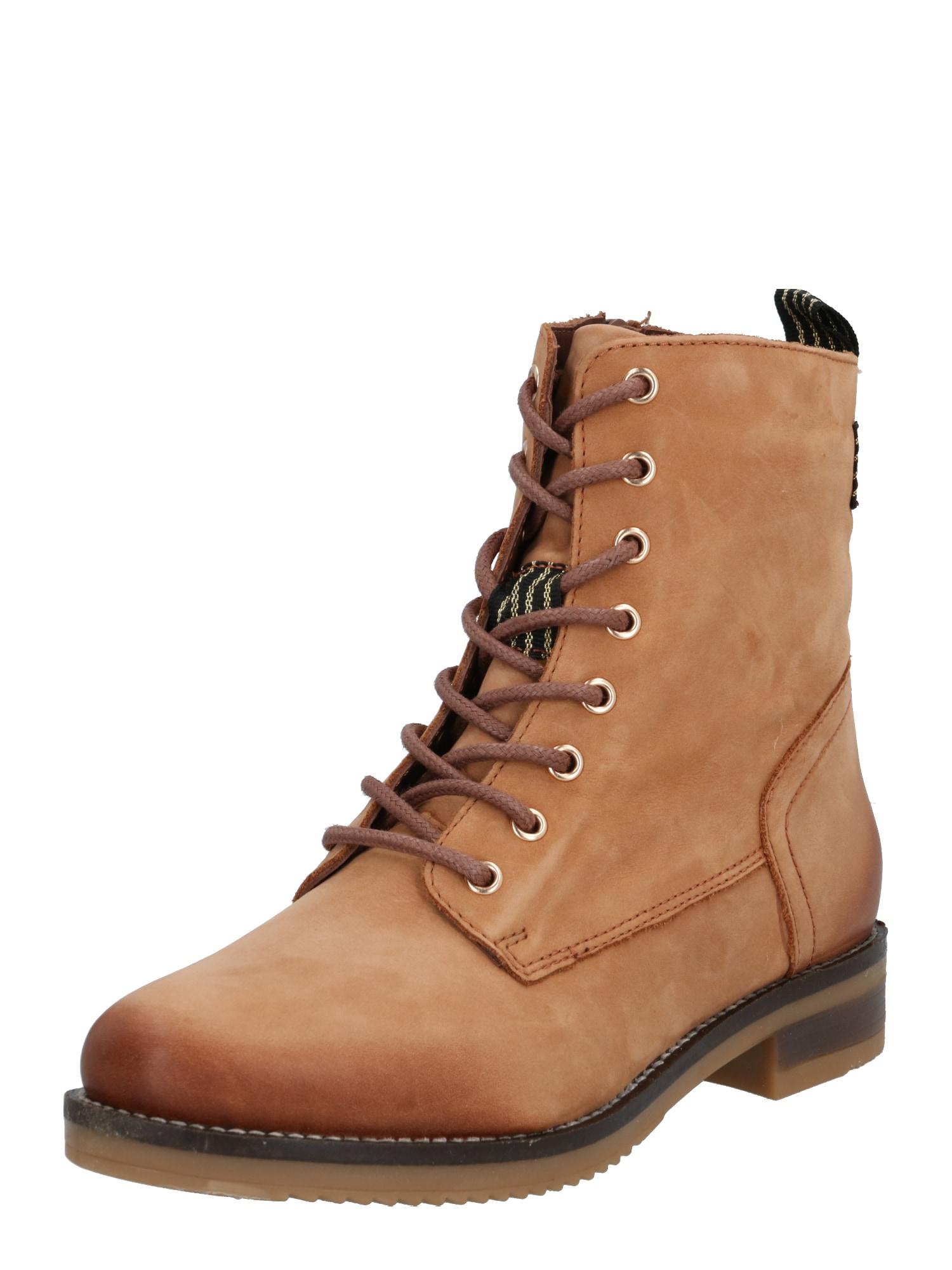 PS Poelman Suvarstomieji kulkšnis dengiantys batai ruda (konjako)