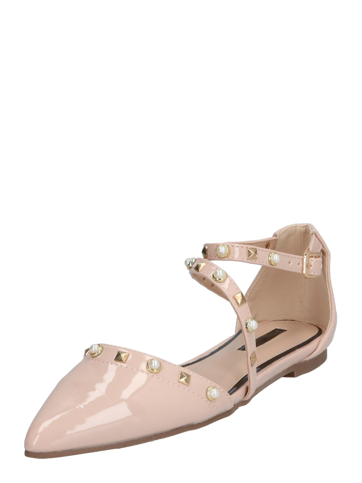 Miss Selfridge Papuče 'LEXA Asymmetric Stud Ballerina'  telová