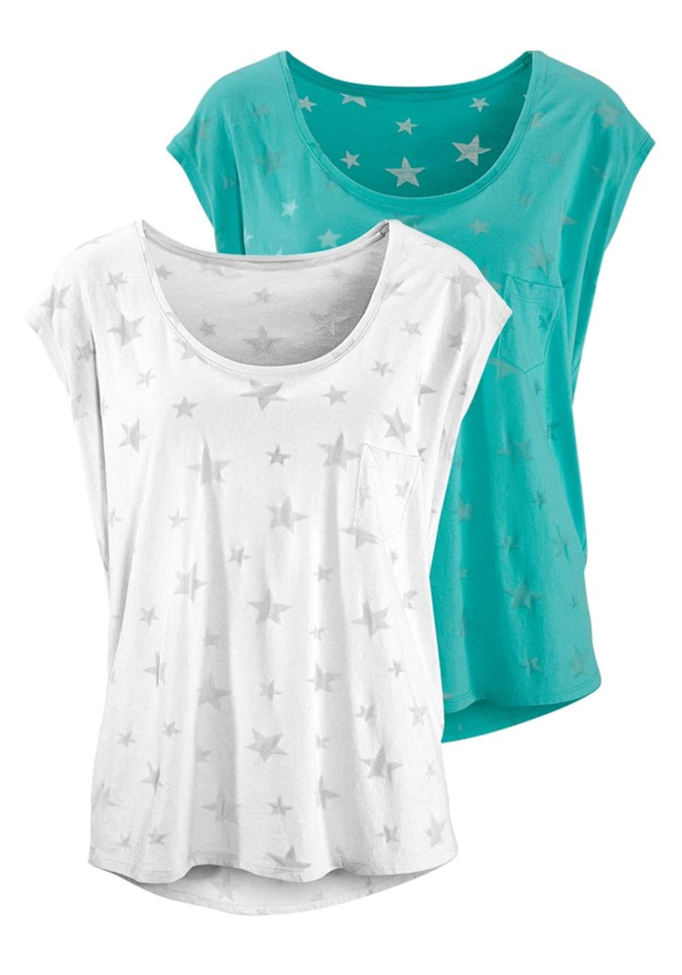 BEACH TIME Marškinėliai turkio spalva / balta