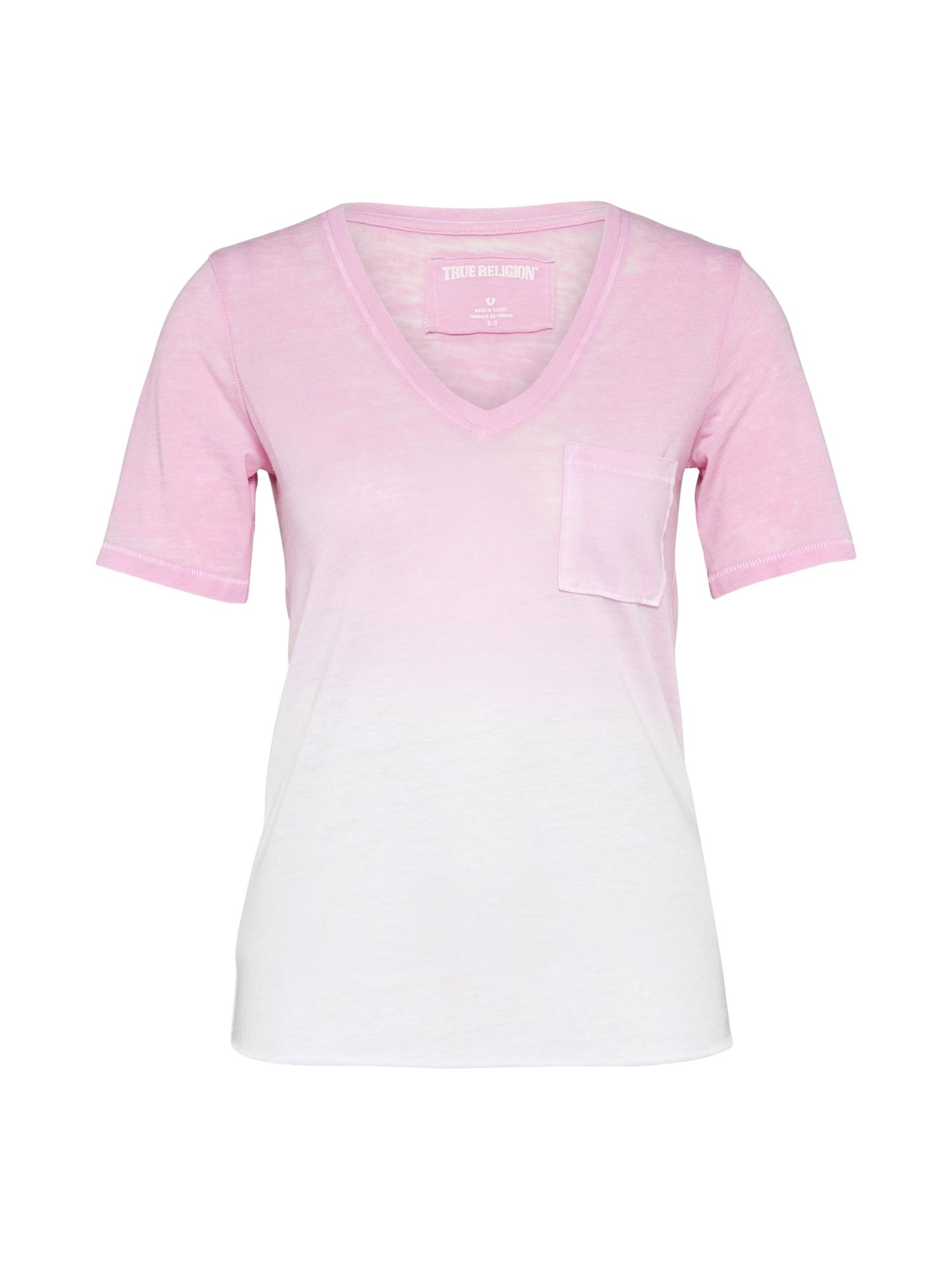 Tričko pink bílá True Religion