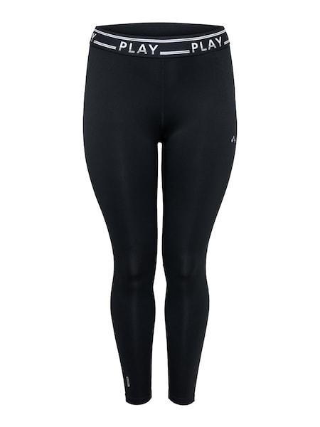 Sportmode für Frauen - ONLY PLAY Trainingstights 'Curvy Logo' schwarz weiß  - Onlineshop ABOUT YOU
