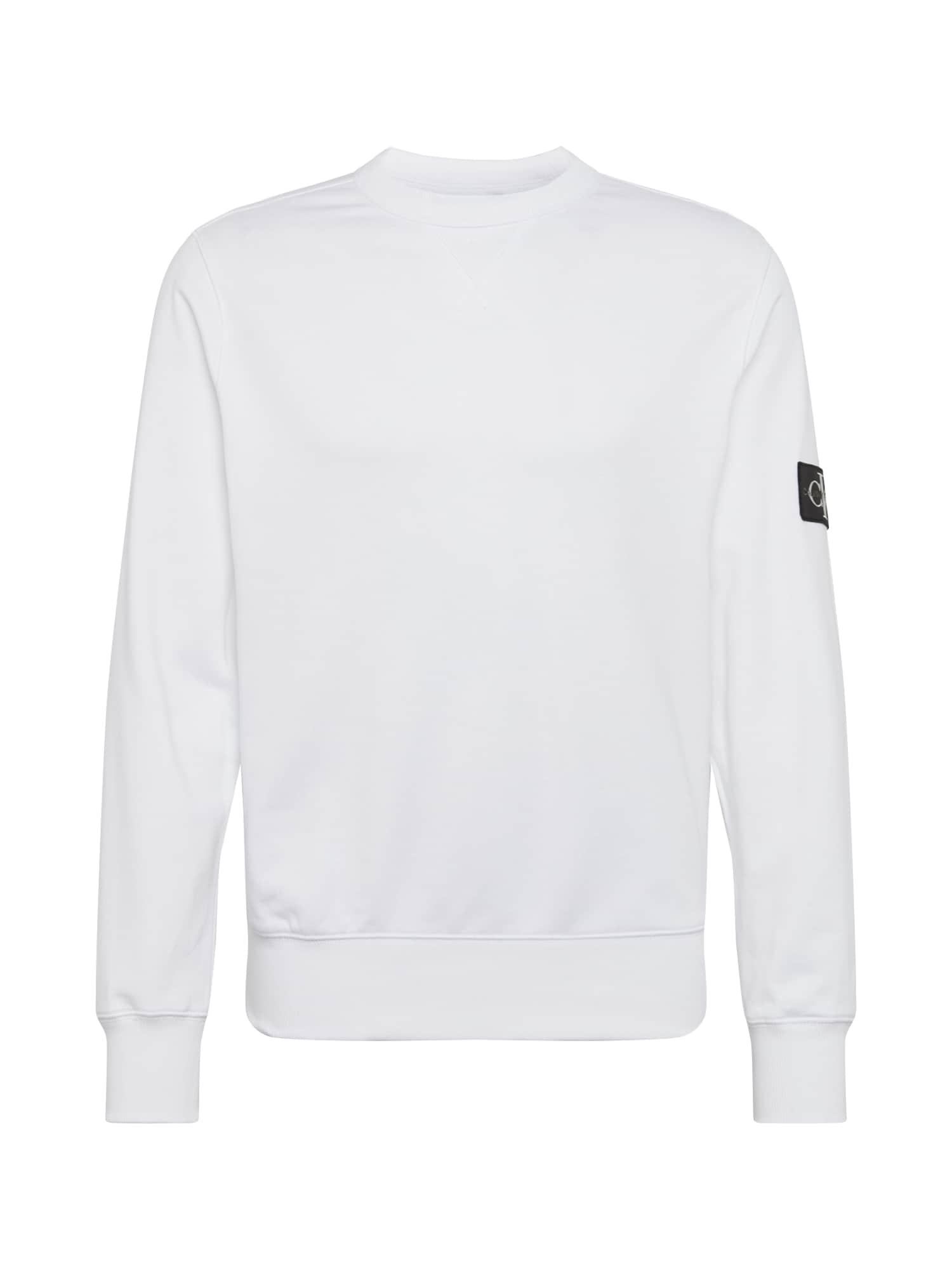 Calvin Klein Jeans Megztinis be užsegimo 'MONOGRAM' balta / juoda